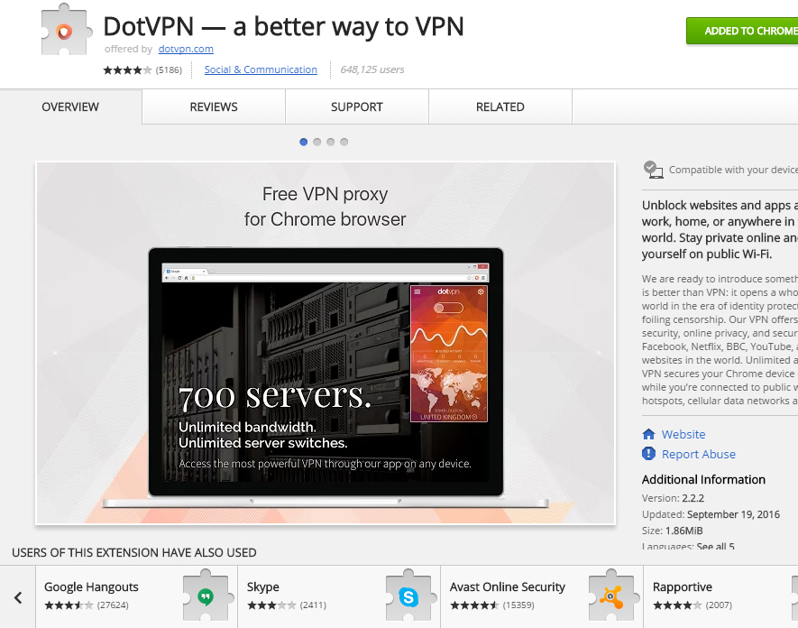 how to open dotvpn in chrome